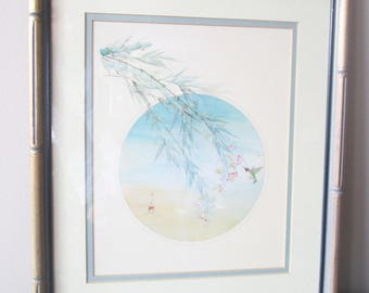 Vintage Framed Asian Motif Hummingbird Watercolor Painting, Bamboo Frame Pastel Colors