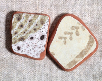 Sea Pottery / 2 pieces / Italian Genuine Patterned Sea Tiles for Collection, Beach Pottery for Jewelry and Mosaic  (sp-0002-7)