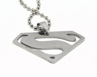 "Superman Logo Stainless Steel Necklace 23"" Ball Chain"