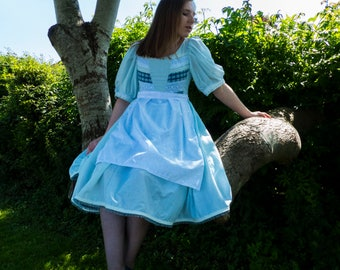 Light Blue Cotton Hand Made Alice In Wonderland Inspired Dress And Apron