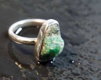 Raw Emerald and Sterling Silver Ring