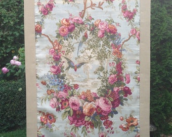 Stunning beautiful unusual 1920s decorative birds and florals linen wall hanging/ interior decoration/ stunning display