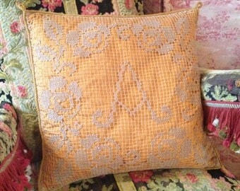 Lovely antique French hand worked filet lace cushion with monogrammed letter A~ lovely pillow