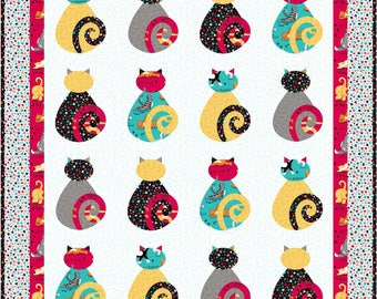 Kitty Cat Gallery Appliqué Quilt Pattern - INSTANT DOWNLOAD