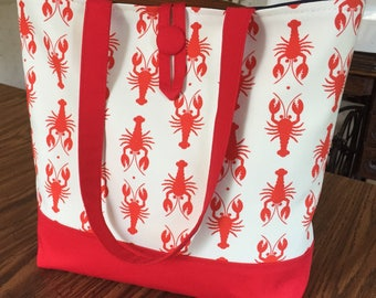Red lobster tote: small tote bag with button closure