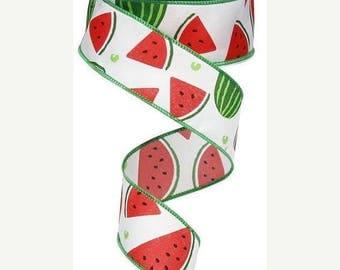"Sale 1.5""x10yd watermelon slices ribbon, RG01215WT, watermelon ribbon, wreath ribbon, wired watermelon ribbon, ribbon, watermelon"