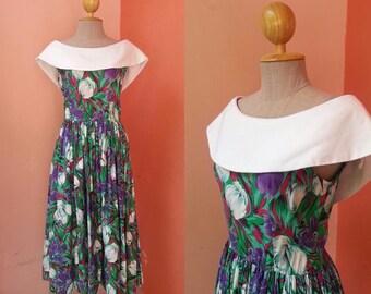 80s Dress Floral Dress Womens Summer Dress Vintage Sundress Day Dress 1980s Dress Purple Green Cotton Dress With White Collar Midi Dress S