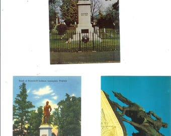 VA Charlottesville 1 Stonewall Jackson Statue Postcard and 2 Tomb Monuments, Cemetery Postcard Lot