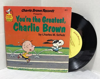 You're The Greatest Charlie Brown vinyl record and book 1980 Charles M. Schulz Read-Along Book And Record Children Kids Storybook VG+/EX