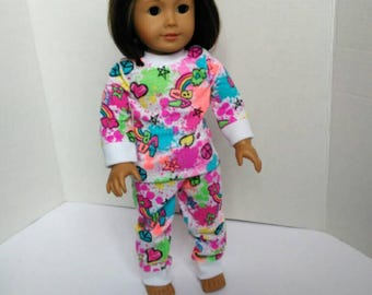 Colorful doll pajamas, fits like American Girl doll pajamas, colorful pajamas for 18 in doll, made to fit American girl doll pajamas