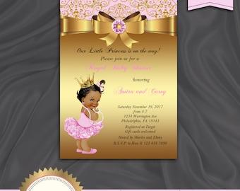 Princess Baby Shower Invitation, Little Princess Baby Shower Invite, Baby Girl, Royal Baby Shower, Pink Gold - Printable, Digital file, BS12