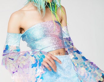 Aurora Bell sleeve Corset Tube Top Festival Rave Burningman Irridescent Sequin Wear