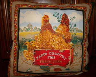 Complete cushion with hens pattern