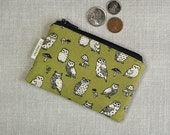 Coin Purse - Owls - Woodland Owl - Cute Coin Purse - Gift - Change Wallet - Zipper Bag - Olive / Moss Green - Card Wallet -Zipper Coin Pouch