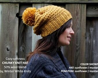 Chunky knit hat, COZY WOODS HAT, pom pom knit hat, Knit winter hat, hand knit beanie hat, Chunky knit beanie, wool hat