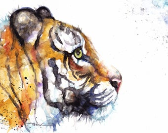 Original Watercolour Tiger Print by Artist Be Coventry Wildlife Animal Art