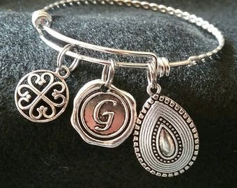 Gypsy with Initial Silver Adjustable charm bracelet