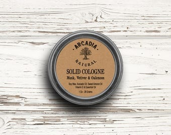 Musk, Vetiver & Oakmoss Solid Cologne in a Travel Tin, Vegan Cologne, Alcohol Free Cologne