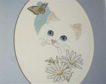 Vintage Cross Stitched White Cat/Kitten with Butterfly - Matted and Framed