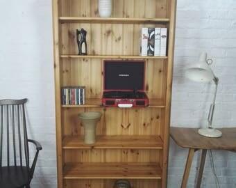 Handmade Reclaimed Large Pine Bookcase Kitchen Unit 5 Adjustable Shelves
