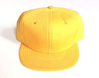 Vintage Sports Specialties Youngan Blank snapback Adjustable One Size fits all Laminated Poly foam 80s yellow trucker hat