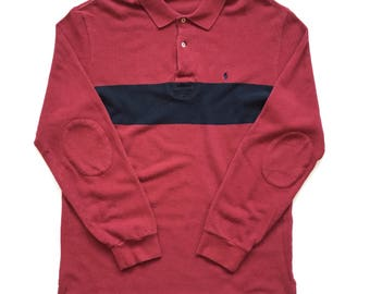 Polo Ralph Lauren button up rugby shirt size XL Burgundy red black striped 90s colour block