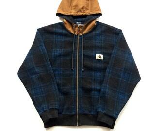 Vintage Polo sportsman Ralph Lauren jacket size Medium plaid checkered 90s blue brown wool blend