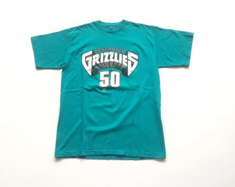 90s SALEM Bryant Reeves Big country vancouver grizzlies jersey t shirt size large made in usa 50-50 RARE vtg