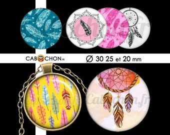 Petites Plumes  • 45 Images Digitales RONDES 30 25 20 mm lune gypsy gipsy boho plume plumes dreamcatcher attrape rêve indien wild dream hope