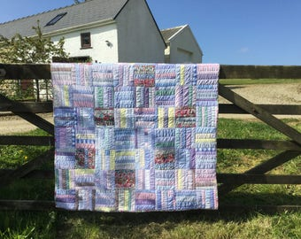 Super, bright little patchwork quilt made from men's shirts and Liberty fabric