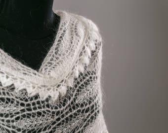 White Shawl,Hand Knitted Shawl ,Mohair Shawl,Party Scarf,Wedding Shawl,Handmade Shawl,Women Shawl,Wedding Accessories ,Bridal Accessories