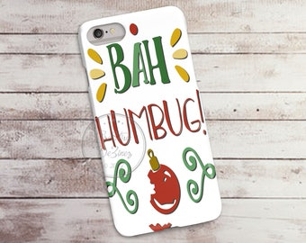 Bah Hum Bug Christmas 3D Phone Case, Iphone 6 7 7+ Samsung Galaxy S5 Thin Hard Case, Personalize with Name or Text, Mobile Full Wrap Scrooge