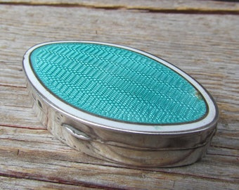 Vintage Art Deco Guilloché Enamel and Sterling Silver Green Pill/Snuff Box