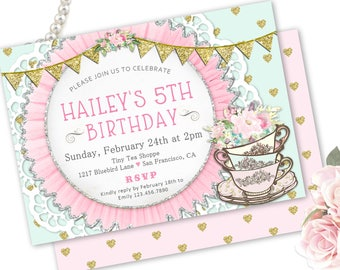 Tea Party Invitation Printable Or Printed Little Girls Birthday