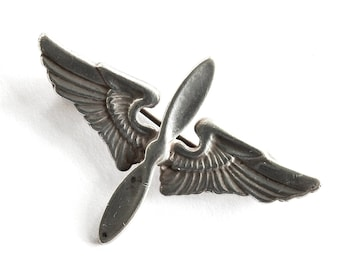 Aviator 1940s Propeller Wings Sterling Pin WWII Bomber Pilot Brooch