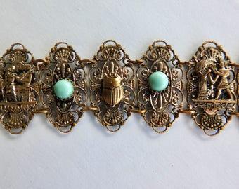 Deco Brass Czech Glass Egyptian Revival Bracelet