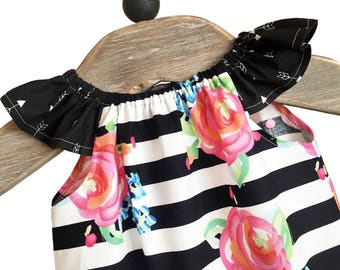 PARIS Girls Dress~ Black Stripe, Pink, Coral~Floral Dress~ Birthday Dress~ Peasant Style~Roses~ Sundress~Photo Shoot~Size Newborn - 24 Month