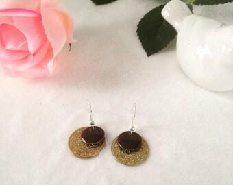 Earrings silver, gold and enamel