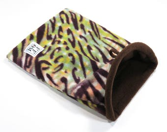 "Small snuggle sack - pouch - with boning - rat - guinea pig - sugar glider - brown/green zebra print - 8"" x 10""  - READY TO SHIP"