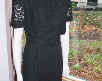 ON SALE 1950s Black Eyelet Wiggle Dress with Jacket, Summer Wiggle Dress with Jacket