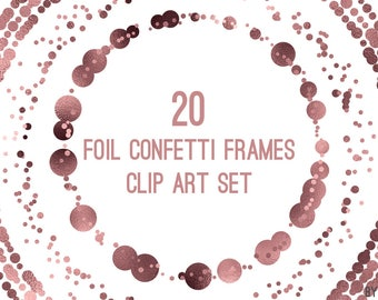 Rose Gold Confetti Frames Foil Circle Clip Art 20 Image PNG File 8in Commercial Use Graphics Digital Clipart