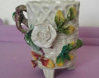 Victorian Twisted Handle mug Basket wave And Applied Roses