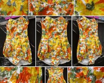 FLASH SALE****Delicious 1950s 'Oranges and Lemons' Floral Polished Cotton Print Bathing Suit!