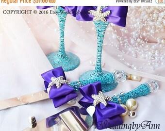 Starfish  Purple Wedding Cake Serving Set- Wedding Cake and Knife Serving Set- Wedding Cake Accessories, wedding gift, Bridal shower