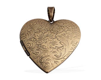 Heart Locket Pendant Brasstone Engraved Details Without Chain