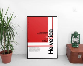 Helvetica Type Face A3 Poster: 297mmx420mm Swiss, Graphic Design, Typography, Type, Font, Graphics, Switzerland, Print, Poster, Red, Black