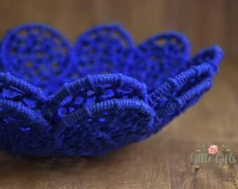 Jute petals woven basket, rope, flower, photography prop, newborn prop, natural jute, organic prop,blue, blue jute, basket prop