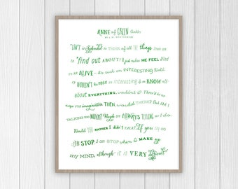 Anne of Green Gables Quote   Anne Shirley Motivational Quote Print   Imagination Anne with an E Quote Print   Classic Literature Book Poster
