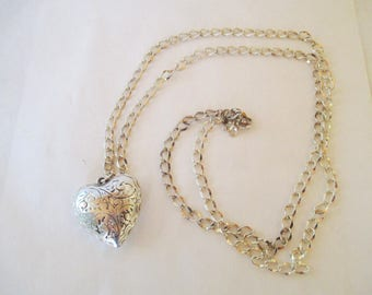 Heart Necklace - Pendant - Silver Toned - Long Necklace - Valentines or Anytime.