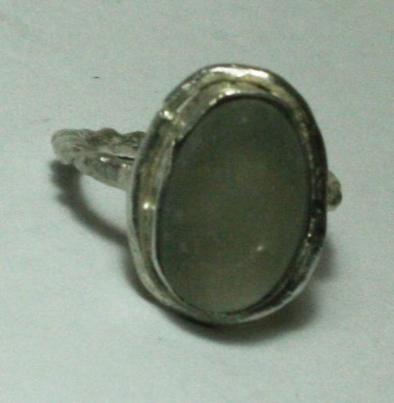 GREY SEAGLASS RING - Sterling silver - size K